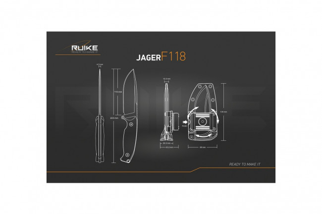 Ruike F118G Jager Vert - Couteau 223mm